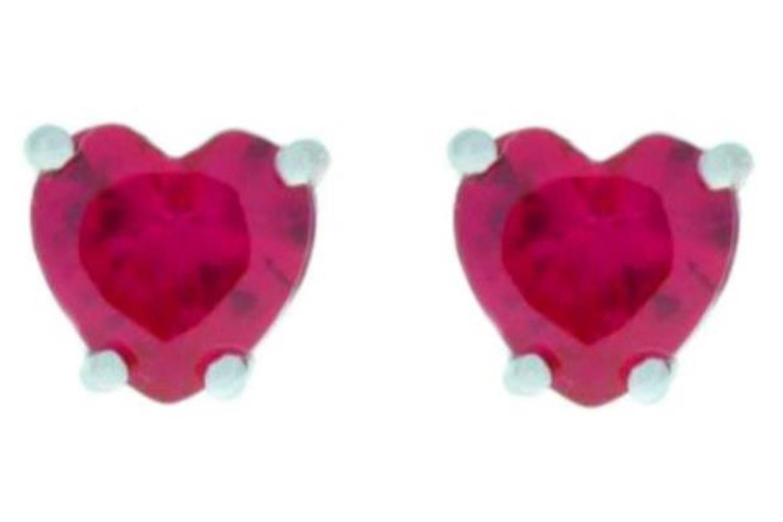14Kt White gold Created Ruby Heart Stud Earrings