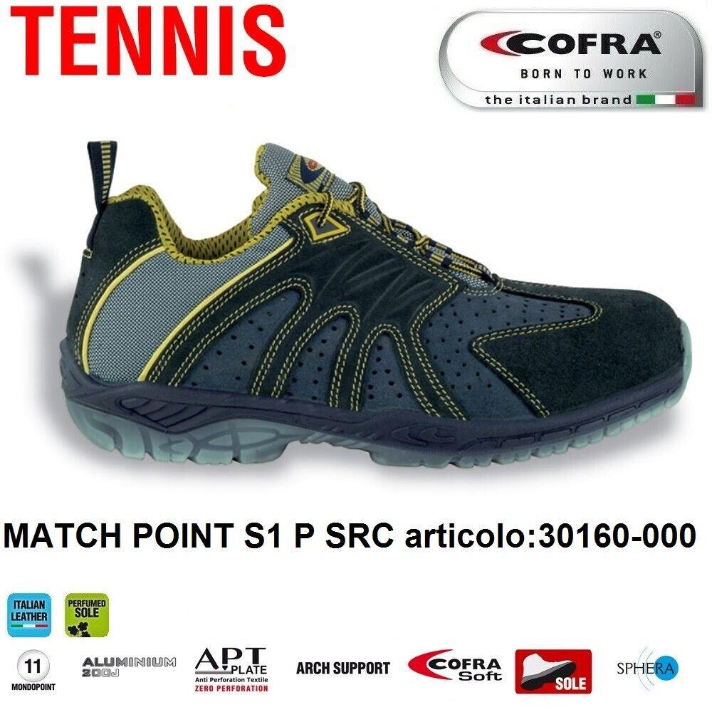 Scarpe Antinfortunistiche COFRA linea TENNIS modello MATCH POINT S1 P SRC pelle scamosciata forata 30160 000