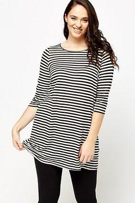 """New Ladies """"Marina Kaneva""""  Black/White Striped  Long Tunic Top Plus size 26-28"""