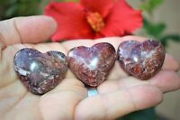 [1] Md Red Brecciated Jasper Crystal Puffy Heart Palm Stone Reiki Zenergy Gems™