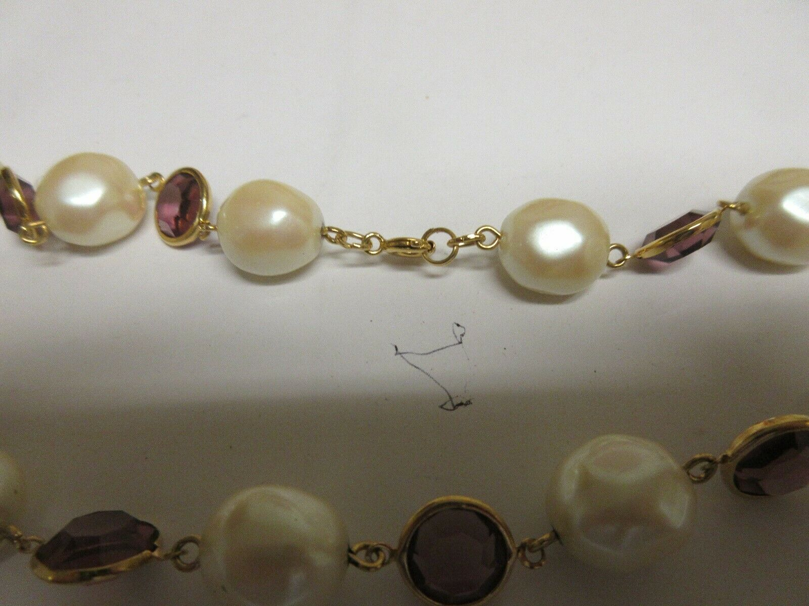 Costume Jewelry , Necklace , Vintage , Purple/White , 2