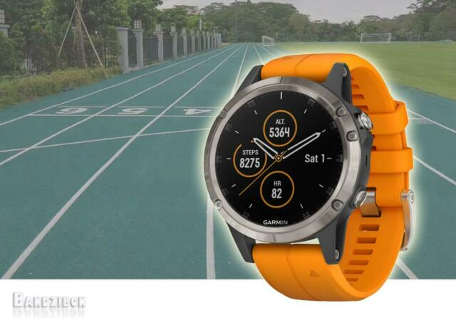 Garmin Fenix 5 Plus Sapphire Titanium Orange GPS HRM Sports Running Topo  Maps