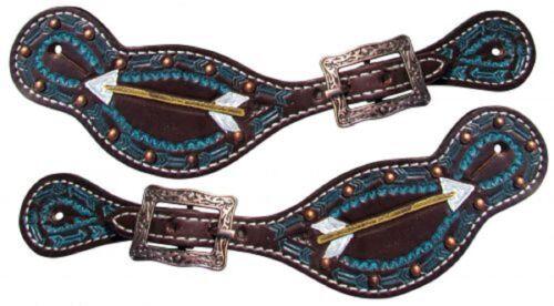Paire de peinte à la main Flèche Design Western en cuir femme Spur Straps