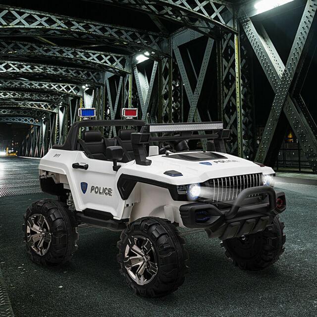 Kids 12V RC 2-Seater Ride-On Police Truck LED Lights MP3