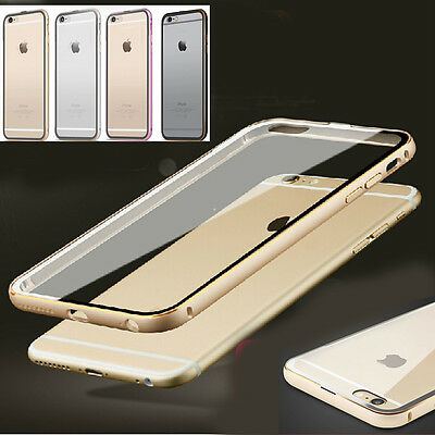 Ultra-Thin Aluminum Metal Bumper Clear Case Cover SKin for iPhone 6 6 Plus 5s