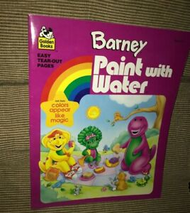 New 1995 Golden Books Barney The Dinosaur Paint With Water Book Ebay