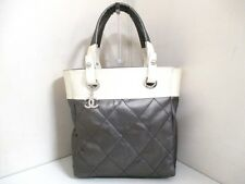 Authentic CHANEL Gray Ivory Paris Biarritz Tote Bag PM A34208 w/ Guarantee