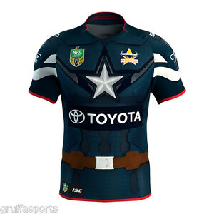 release date e799e 17b93 Details about North Queensland Cowboys Marvel Captain America Jersey Ladies  Size 8 ISC NRL 17