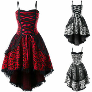 Details about US STOCK Plus Size Women Retro Steampunk Lace Up Lace Evening  Party Corset Dress