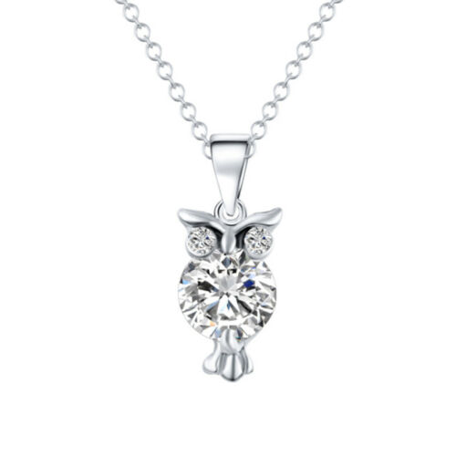Crystal Owl Charm Pendant Chain Sweater Necklace Women Girls Jewelry Gift LD