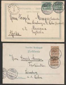 DR 1899/1901 Postkarte > Massaua Eritrea + Foto-Ak von E. gelaufen in GER