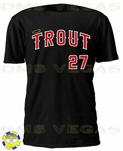 Los Angeles Angels Mike Trout 27 Anaheim Jersey Tee T Shirt Men Size ... 8eabf0eec
