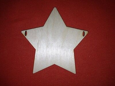 10 x BUNTING STAR 8cm with ribbon slots PLAIN UNPAINTED BLANK WOODEN SHAPES XMAS