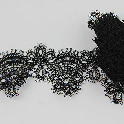 2 Yards Embroidered Net Lace Trim Vintage off-White Black Lace DIY Sewing Crafts