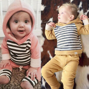 Newborn Baby Boy Girl Toddlers Long Sleeve Tops Pants 2PCs Clothes Outfits Set