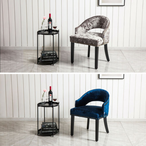 Stud Crushed Velvet Dining Chairs Kitchen Dinner Seat Upholstered Dining Chair