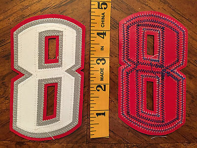"NOS Tackle Poly Twill 4/"" 3 Tone Number 1 SEWN Black on Gray on Red Iron//Sew on"