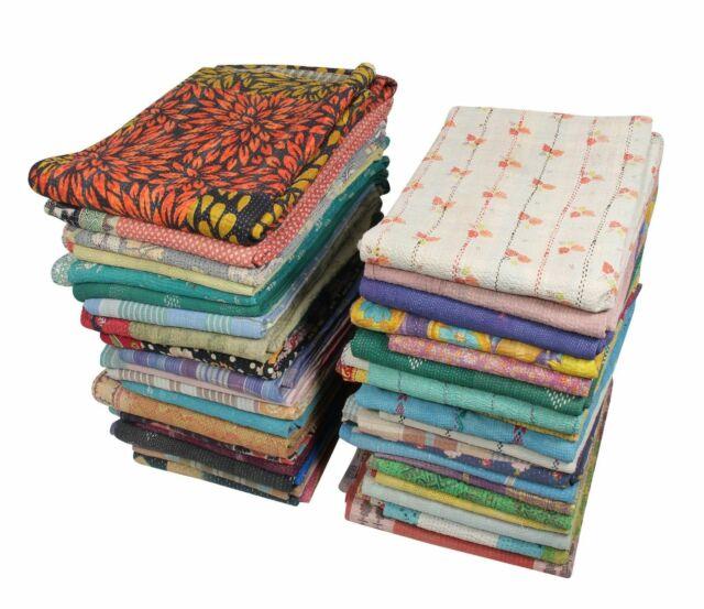 Vintage Kantha Bedding Bedspread Coverlet Indian Cotton Blanket Wholsale Throw