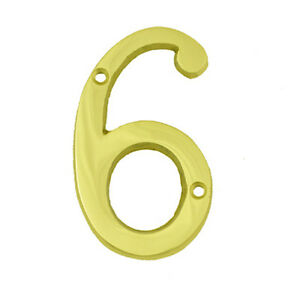 3 Inch Bright Brass 6 House Numbers Home Address Plaque