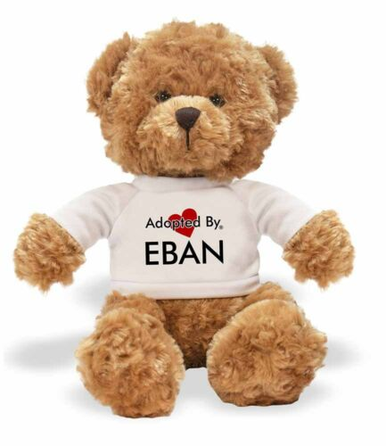 Adopted By EBAN Teddy Bear Wearing a Personalised Name T-Shirt,