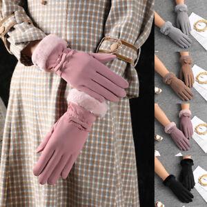 Pantalla Táctil Guantes de invierno señoras polar Gruesas Cálidas cómodos Piel Suave Forrado Térmico