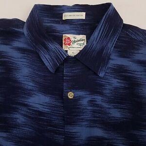 Hilo-Hattie-Men-039-s-Hawaiian-Shirt-Size-XL-Rayon-Floral-Blue