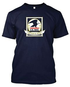 Usps postal u s mail first class all the way navy t shirt for Usps t shirt shipping