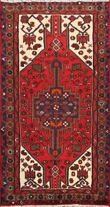 Tribal Traditional Geometric Hamedan Area Rug Wool Hand-knotted Foyer Carpet 3x5