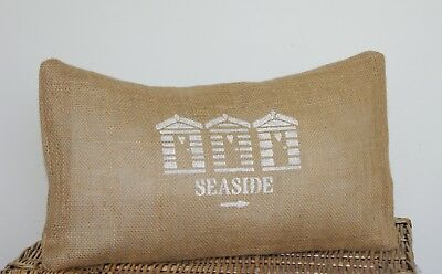 BEACH HUTS CUSHION COVERS HESSIAN BURLAP OBLONG RECTANGLE STENCILLED SEASIDE **