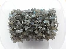 10 Feet Labradorite Chips Freeform Rosary Beaded Chain Black Plated Wire 3-5mm