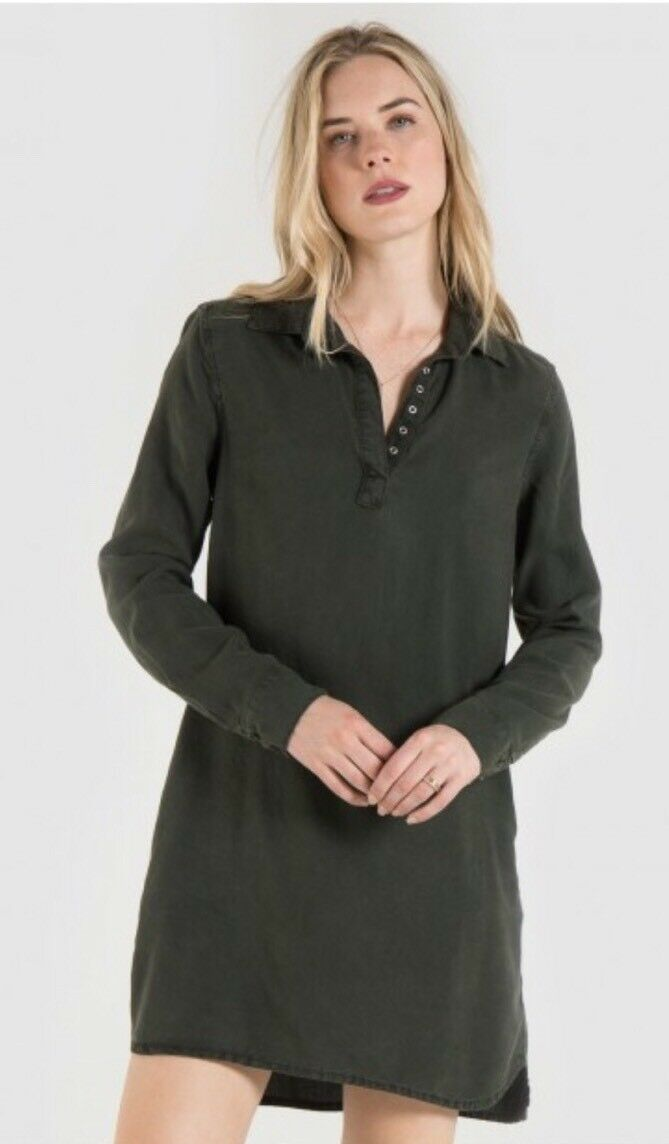 Authentic Bella Dahl Grommet A-Line Dress Size X-Small, Dark Forest