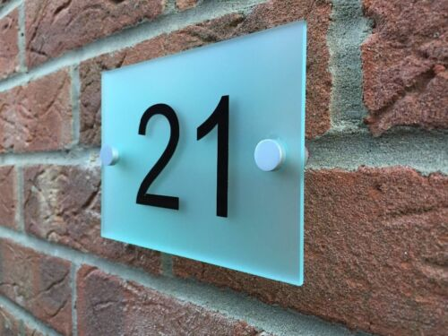 Glass Acrylic House Sign Modern Pastel Yellow Door Number Name Road Plaque