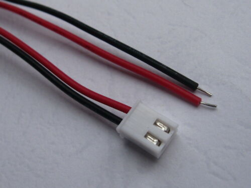50 pcs 2.54mm 2 Pin Polarized Connector with 26AWG 8inch 20cm Red Black Leads