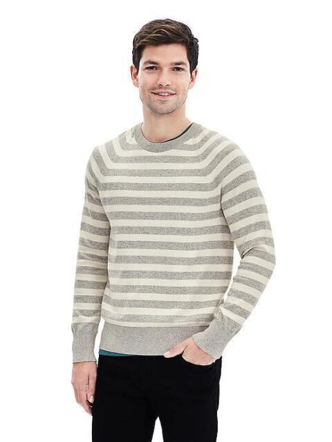 NEW Banana Republic Mens Striped Cotton Cashmere Crew Pullover Sweater Gray L 42