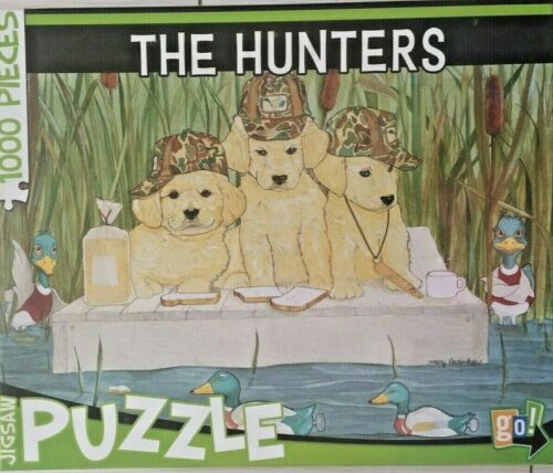 """Details about  //""""The Hunters/"""" Duck Hunting Golden Retriever Puppies 1,000 Piece Jigsaw Puzzle"""