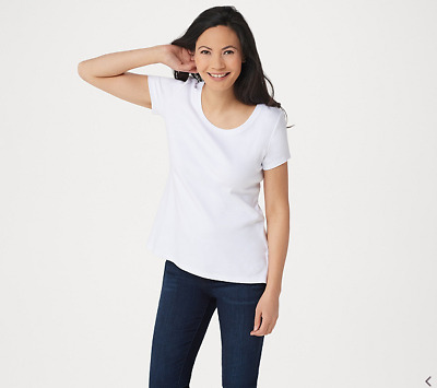 Isaac Mizrahi Essentials Wide Scoop Neck Top Bright White S NEW A300901