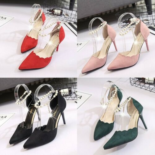 Women/'s Ponited Toe High Heels Faux Pearl Causal Gown Ball Prom Party Shoes New