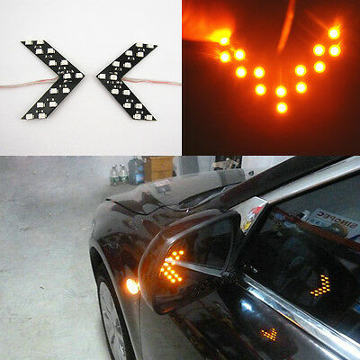 2 Pcs Yellow Arrow Panel 14SMD LED Car Side Mirror Turn Signal Light For Benz