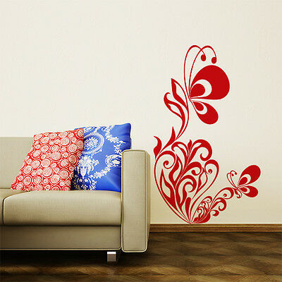 01121  Wall Stickers Sticker Adesivi Murali Fiore con farfalle 2 60x100cm