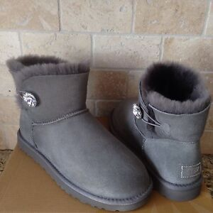 ac6cbb26536 Details about UGG Mini Bailey Button Bling Swarovski Gray Grey Suede Boots  Size US 9 Womens