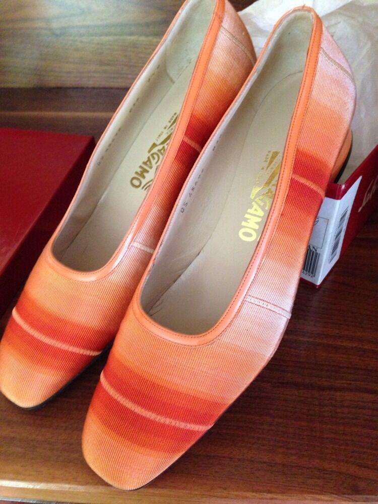 NWOT Ferragamo orange Ombré Grosgrain Ribbon & Patent Leather shoes - Size 9.5 B