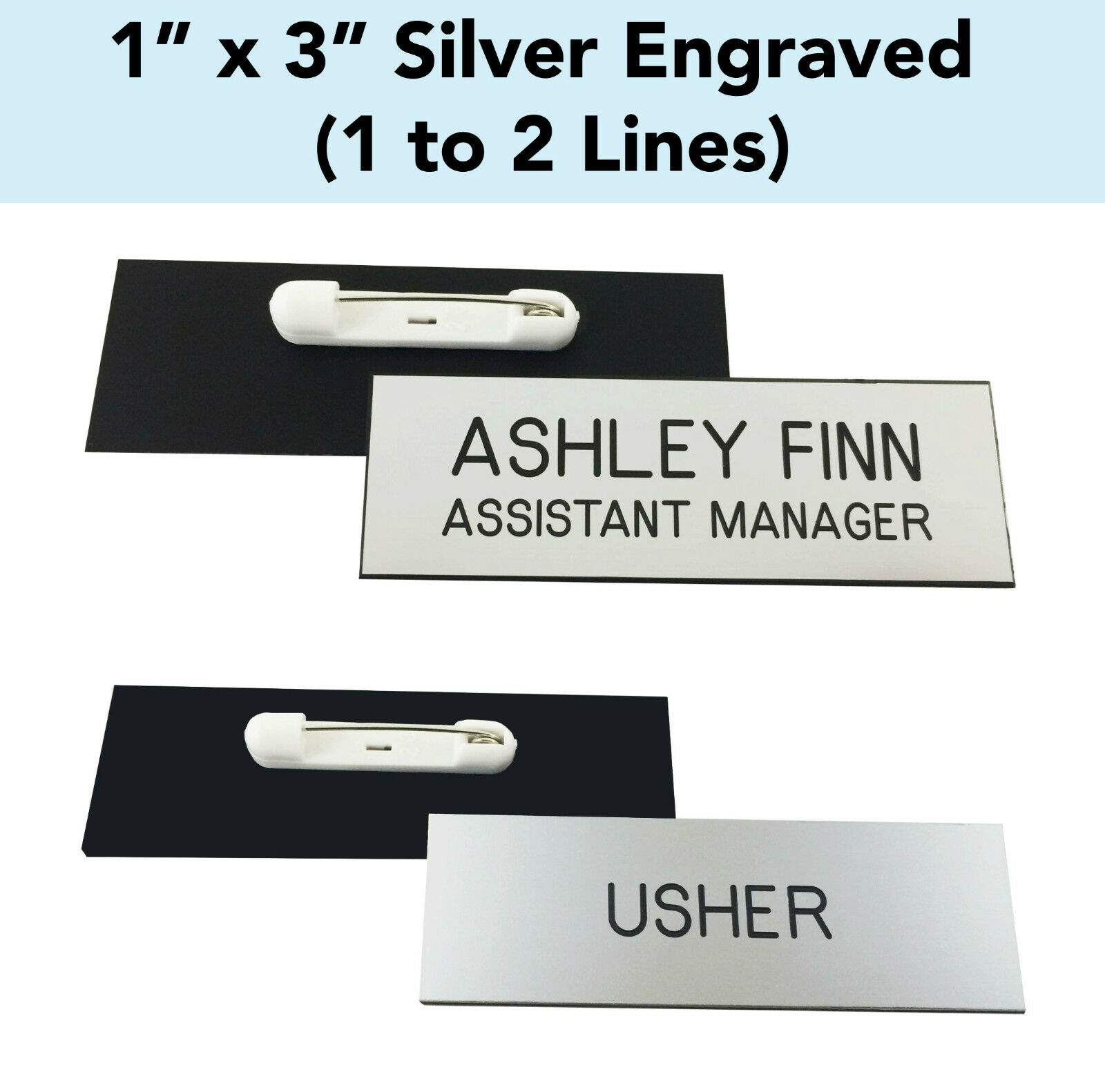 custom engraved silver 1 x 3 name badge tag with pin