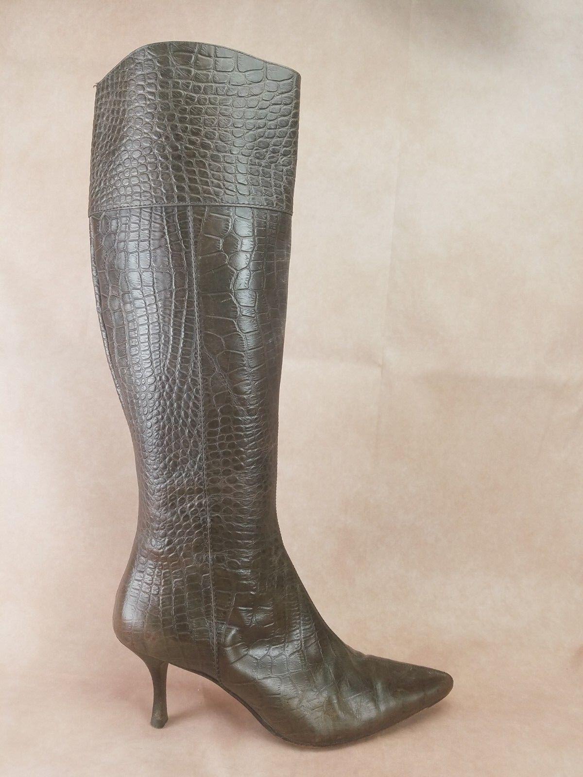Cole Haan Womens Alligator Print Knee Boots Size 7 Brown Zip Up Heels