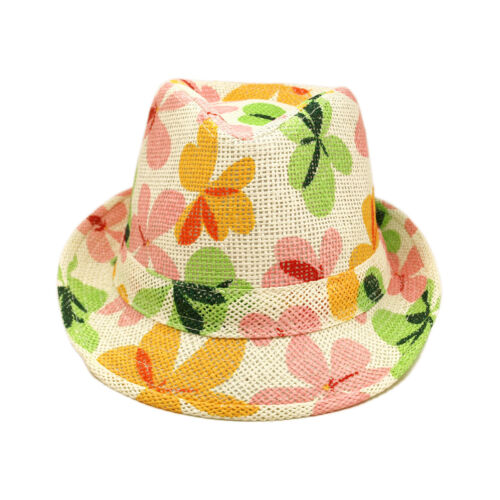 Flower Floral Print Fedora Straw Hat w// Matching Band Young Adult Teen/'s 6-12