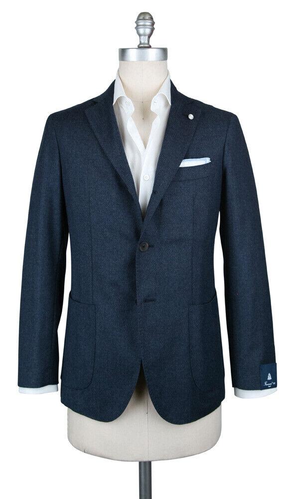 New  1200 Finamore Napoli Navy Blau Wool Blend Sportcoat - 48 58 - (GIA68000102)