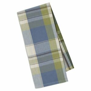 and TanDesign Imports PLUM NANTUCKET CHECK Cotton Dish Towels Set of 2