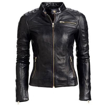 Women/'s Black Slim Fit Biker Moto Club Style Cafe Real Lambskin Leather Jacket