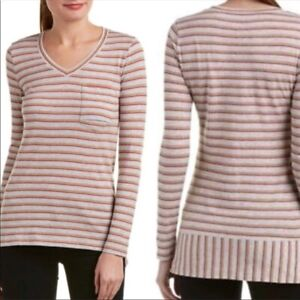 CAbi-Size-Small-Skipper-Tee-Top-Gray-Red-Tan-Striped-High-Low-V-Neck-3055