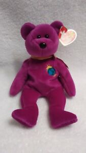 TY Beanie Baby Millennium Bear, New Condition, Purple with Gold Colored Ribbon