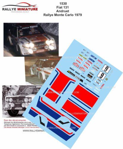 DECALS 1//24 REF 1530 FIAT 131 ABARTH ANDRUET RALLYE MONTE CARLO 1979 RALLY WRC